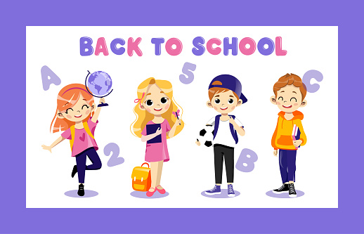 Concept Of Back To School. Kids Ready To Study In New Academic Year. Happy Classmates Boys And Girls Standing In A Row Together Holding Globe, Ball And Book In Hands. Cartoon Flat Vector Illustration