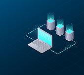 Concept of big data processing, web hosting and server room, computer. Internet network communication. Big Data Synchronization and storage of data. 3d flat design. Isometric vector illustration.