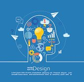 Concept of big ideas inspiration innovation, invention, effective thinking, text. Infographic in line style with flat set business icon, vector illustration.