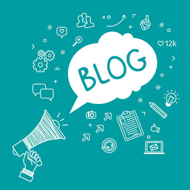 stockillustraties, clipart, cartoons en iconen met concept of blogging - bloggen