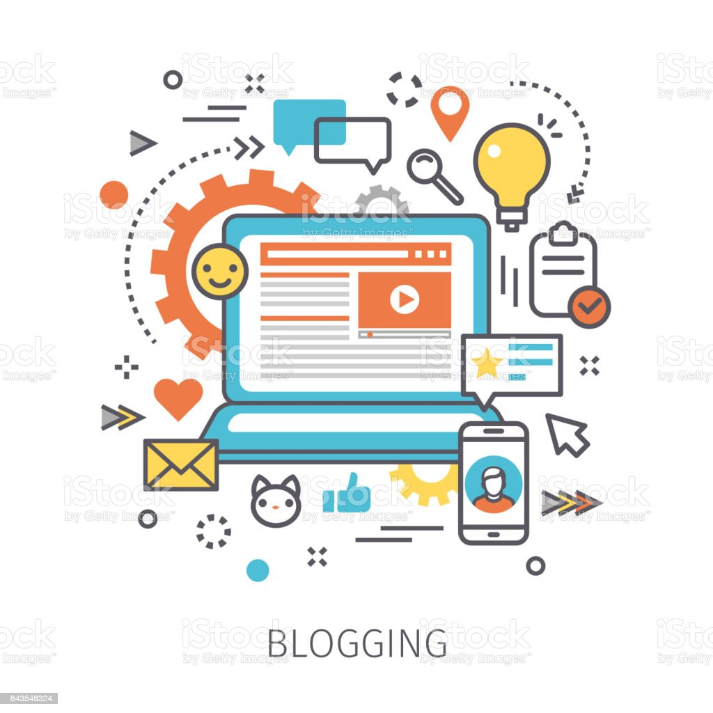 Concept of blogging. vector art illustration