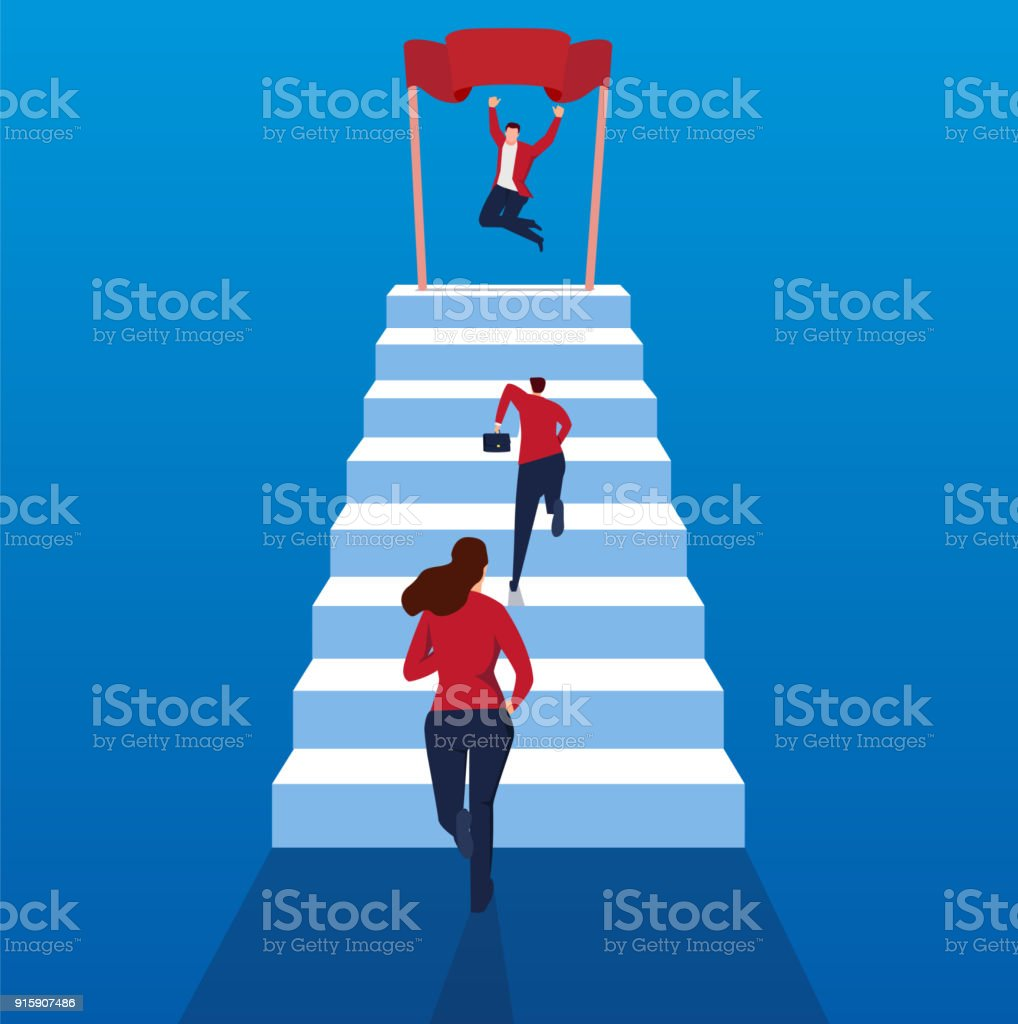 Concept of business competition vector art illustration