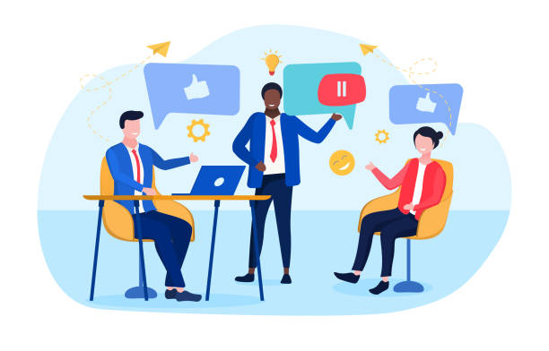 concept of business discussion in social networks Vector illustration concept of business discussion in social networks. Business people communicating together in internet, messengers and social networks workplace feedback vectors stock illustrations