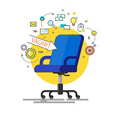 Concept of business hiring and recruiting. Office chair and a sign arrow vacant. Flat design vector illustration