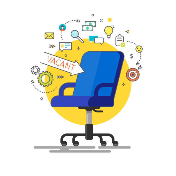 Concept of business hiring and recruiting. Concept of business hiring and recruiting. Office chair and a sign arrow vacant. Flat design vector illustration vacancy stock illustrations