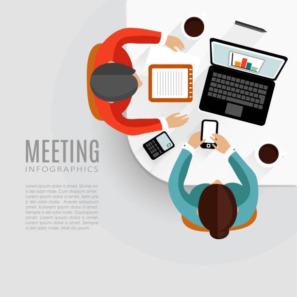 illustrazioni stock, clip art, cartoni animati e icone di tendenza di concetto di riunioni d'affari, l'associazione di idee, lavoro di squadra, vettoriale - business meeting, table view from above