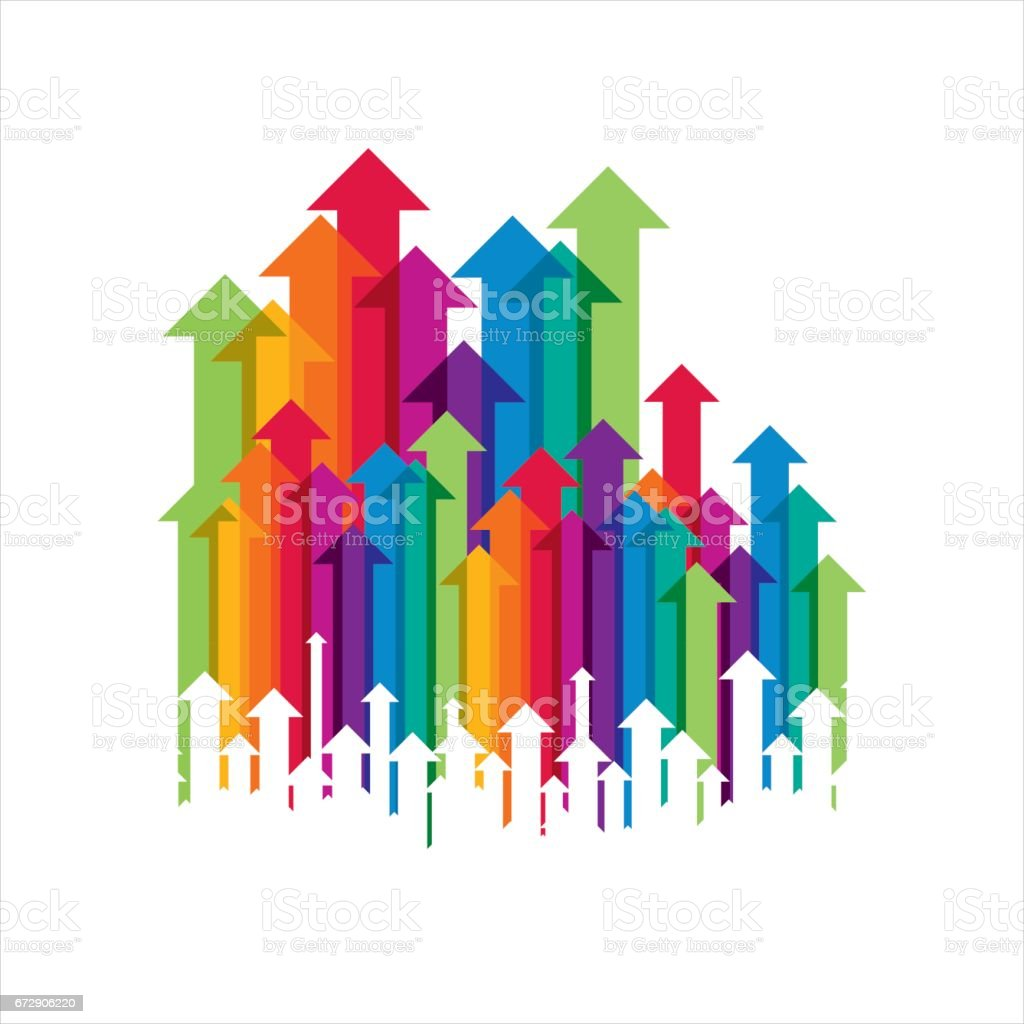 Concept of business movement, Arrows vector art illustration