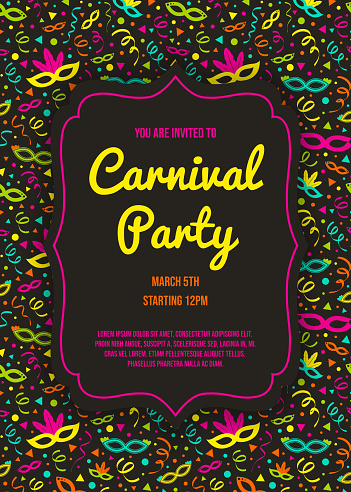 Concept of Carnival Party invitation with colorful background with serpentines. Vector
