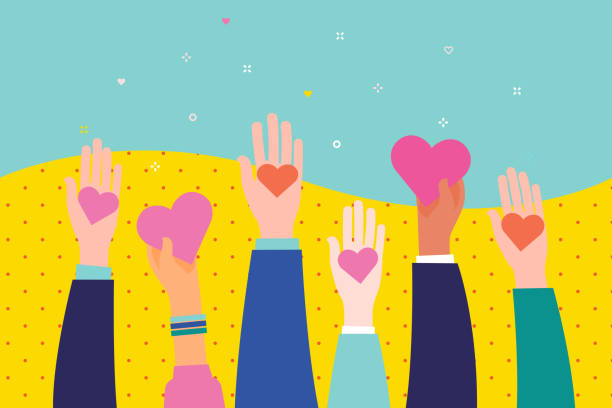 Concept of charity and donation. Give and share your love to people. Concept of charity and donation. Give and share your love to people. Hands holding a heart symbol. Flat design, vector illustration. community backgrounds stock illustrations