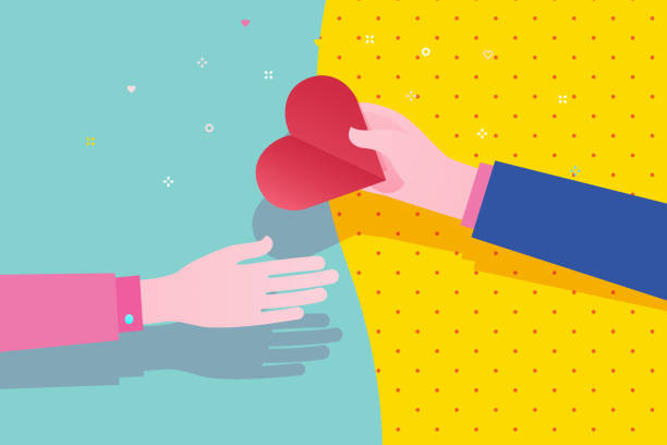 Concept of charity and donation. Give and share your love to people. Concept of charity and donation. Give and share your love to people. The hand of the man gives the symbol of heart to the other hand. Flat design, vector illustration. charity stock illustrations