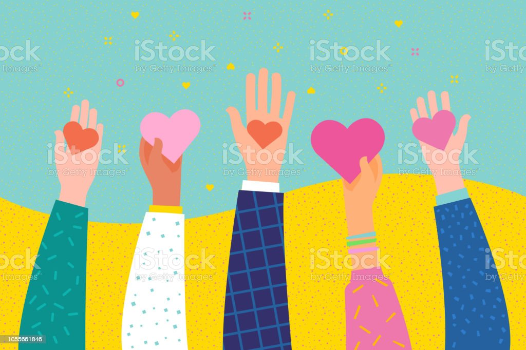Concept of charity and donation. Give and share your love to people. vector art illustration