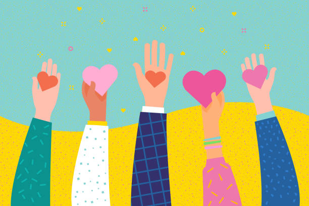Concept of charity and donation. Give and share your love to people. Concept of charity and donation. Give and share your love to people. Hands holding a heart symbol. Flat design, vector illustration. amor stock illustrations