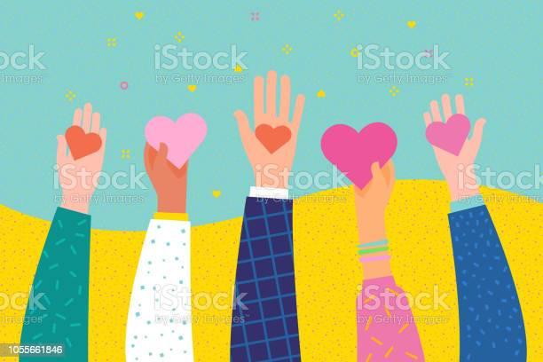 자선 및 기부 개념입니다 주고 사람들에 게 당신의 사랑을 공유 Charity Benefit에 대한 스톡 벡터 아트 및 기타 이미지