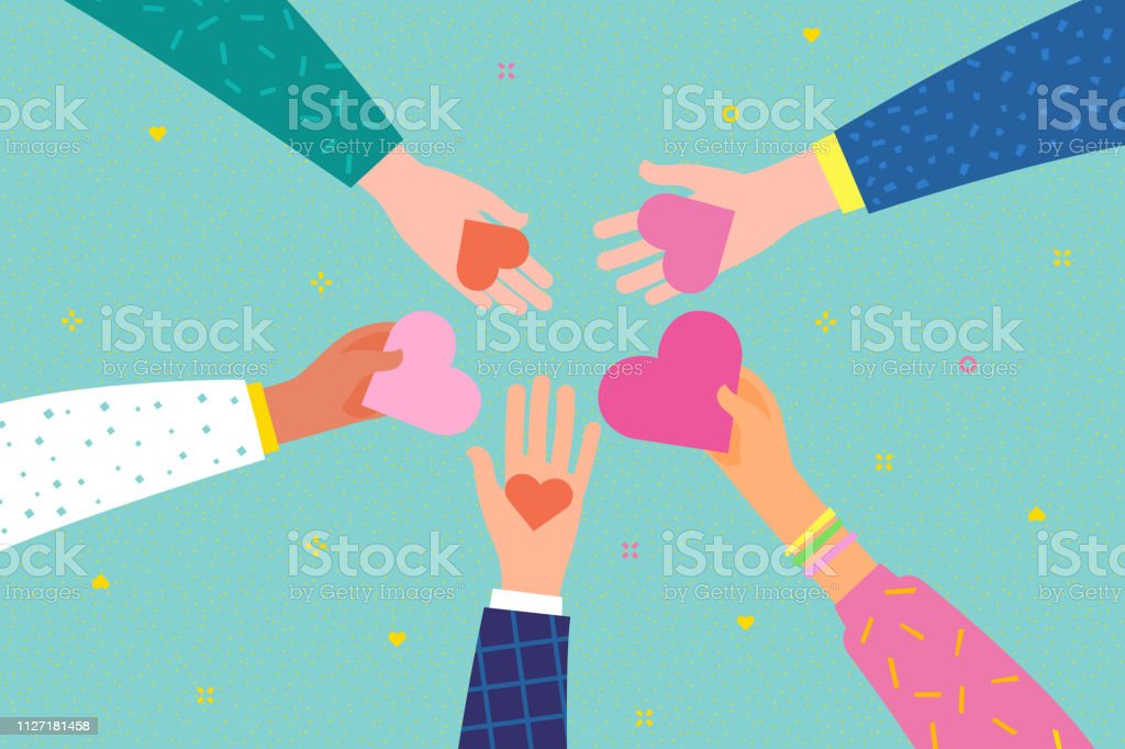 Concept of charity and donation. Give and share your love to people. Concept of charity and donation. Give and share your love to people. Hands holding a heart symbol. Flat design, vector illustration. Abstract stock vector
