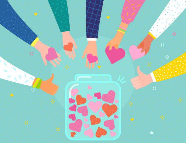 concept of charity and donation. give and share your love to people. - wspólnie korzystać stock illustrations