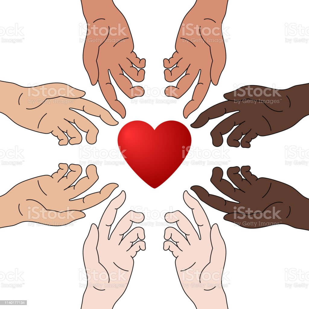 Concept of Charity and Donation. Hands Give Love. Race Equality....