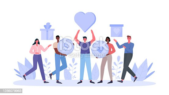 Concept of charity and donation. People give and share love, money, boxes with clothing, food, medicines,products to poor, homeless and elder persons. Philanthropy flat cartoon vector illustration.