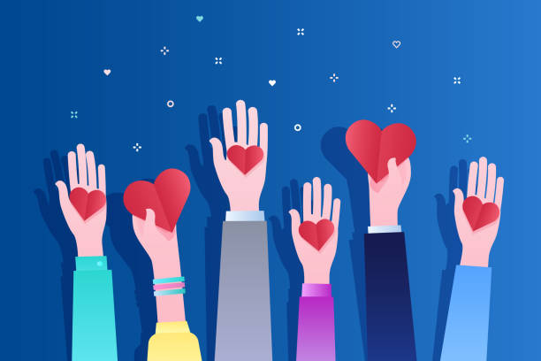 Concept of charity and donation. Concept of charity and donation. Give and share your love to people. Hands holding a heart symbol. Flat design, vector illustration on blue background. charity stock illustrations
