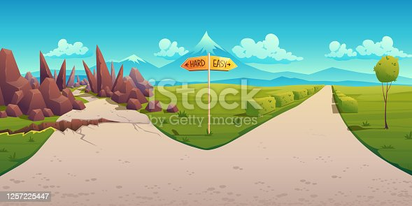 istock Concept of choice between hard and easy way 1257225447