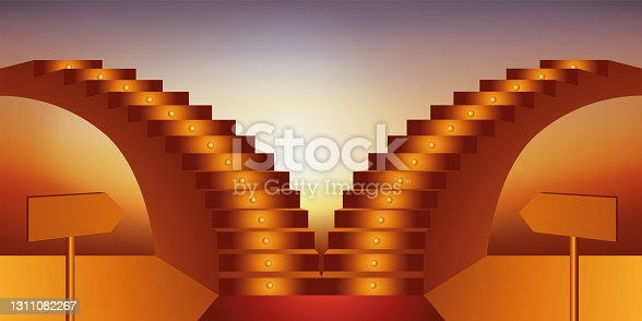 istock Concept of choice, with two stairs in opposite directions to symbolize the dilemma in the face of the direction of a professional career. 1311082267