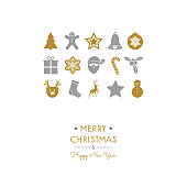 Concept of Christmas card with beautiful ornaments. Vector.