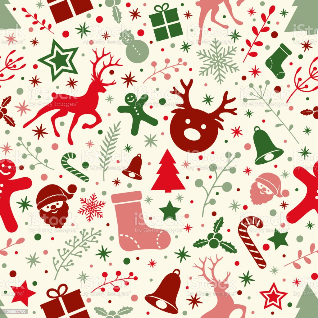 concept of christmas wallpaper with ornaments seamless pattern vector vector id1068806750