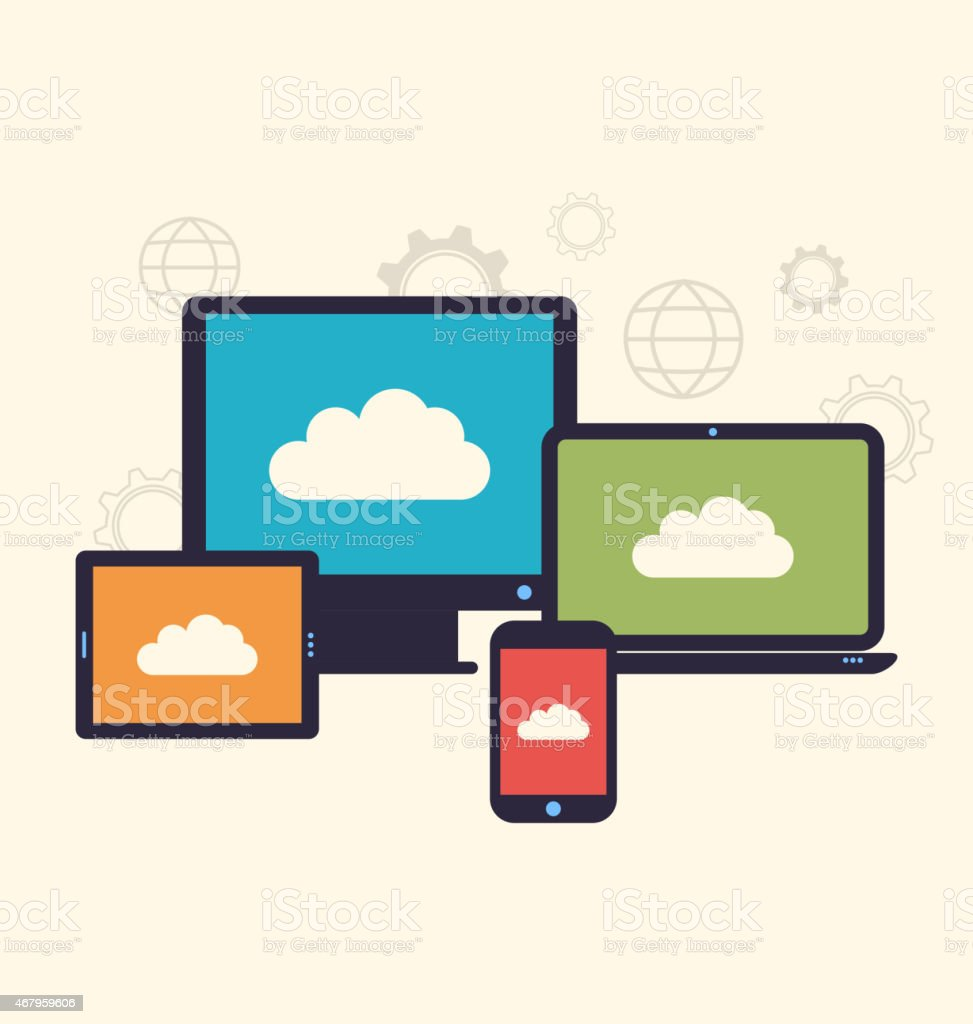 Concept of cloud service and mobile devices, trendy flat style vector art illustration