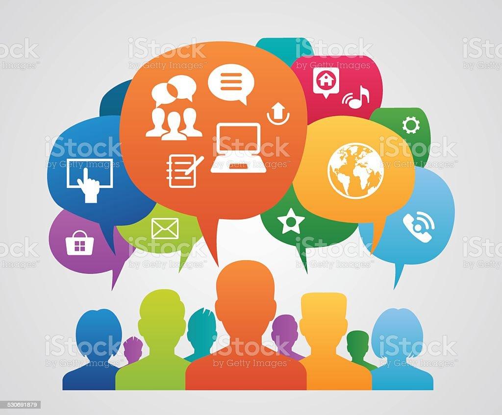 Global Communication Between People On Computers Stock ... |Communication Between People