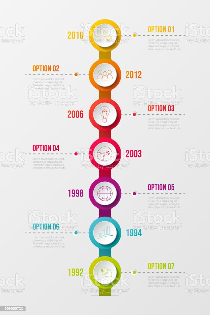 Concept of company milestone with  colourful icons.Vector. vector art illustration
