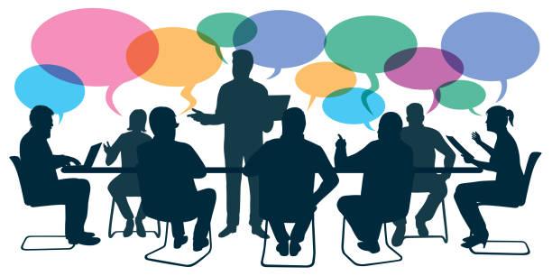 konzept der beratung, mit einem unternehmensleiter, der die richtungen mit seinen mitarbeitern diskutiert. - meeting stock-grafiken, -clipart, -cartoons und -symbole