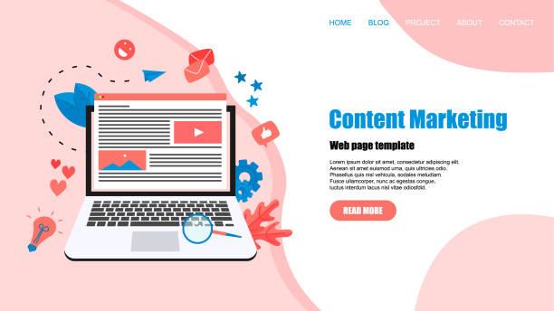 stockillustraties, clipart, cartoons en iconen met concept van content marketing. website landing web pagina template - bloggen