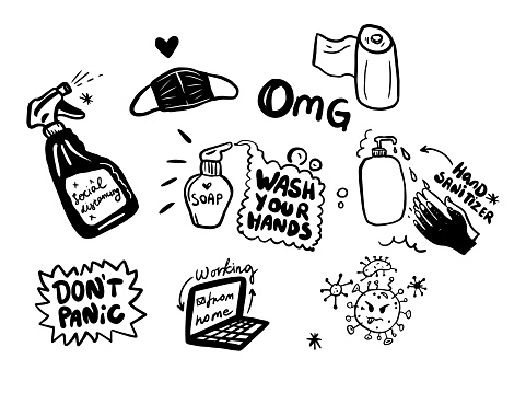 Concept of coronavirus quarantine vector illustration. vector black and white graphic doodle stickers with medical masc, toilet paper, laptop,liquid soap and sanitizer.