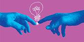 Concept de la création avec la main de Michel Ange qui en pointant le doigt trouve une idée, symbolisée par une ampoule.