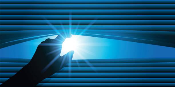 koncepcja ciekawości z osobą, która podnosi ostrza niewidomego, aby spojrzeć na zewnątrz. - store stock illustrations