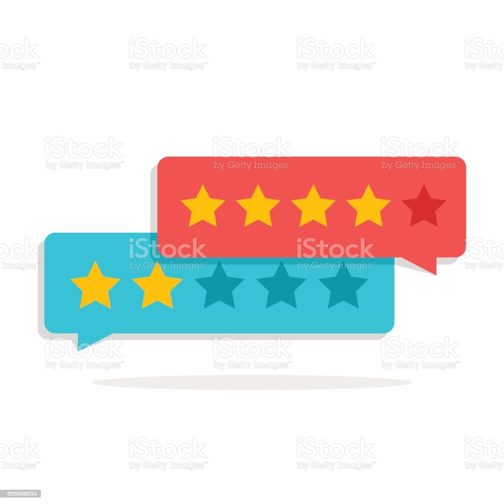 Concept of customer feedback. Rating in the form of stars. Negative or positive rating. Dialog box for the interface in the mobile application or on the site. vector art illustration