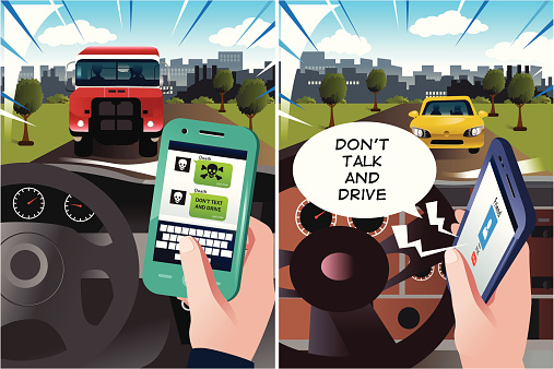 Concept of danger of texting and driving
