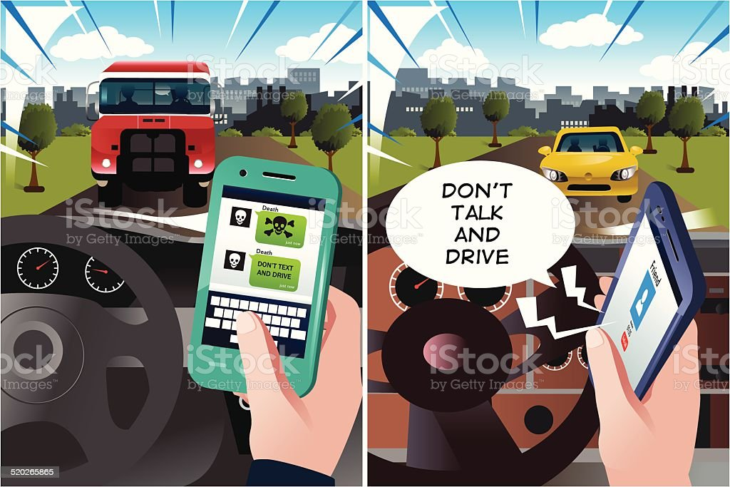 Concept of danger of texting and driving vector art illustration