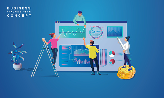 Concept of Data Analysis for website and mobile website.
