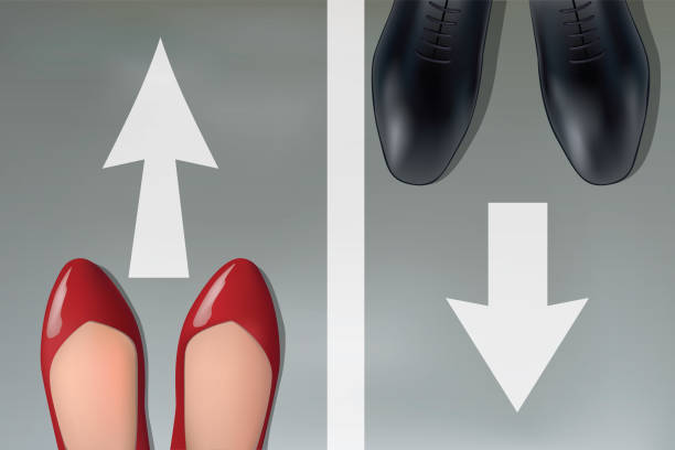 concept of disagreements in a couple with a man and a woman who choose to take different paths. - men shoes stock illustrations