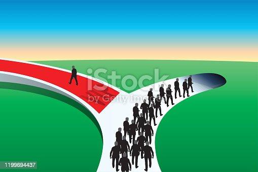 Concept du privilège et de l'inégalité avec un groupe de personnes qui descend dans un tunnel, tandis qu'un homme seul prend la direction opposée en marchant sur un tapis rouge.