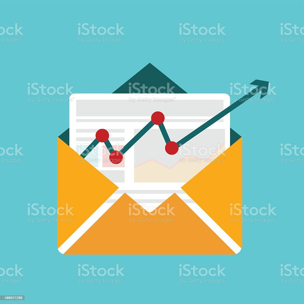 Concept of distributed news publication via e-mail , email marketing vector art illustration