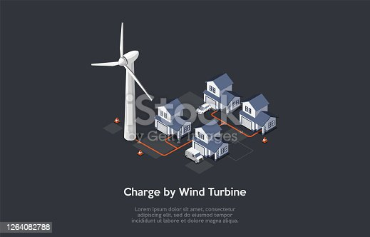 Concept Of Eco City. Modern Beautiful Residential District, Friendly Renewable Energy Saving. Solar Panels, Windmill Turbine For Home Produce Energy And Charge Cars. Isometric 3D Vector Illustration.