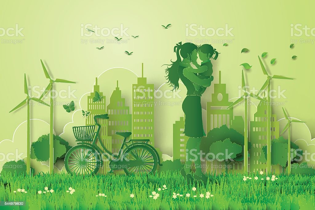 concept of eco with family vector art illustration