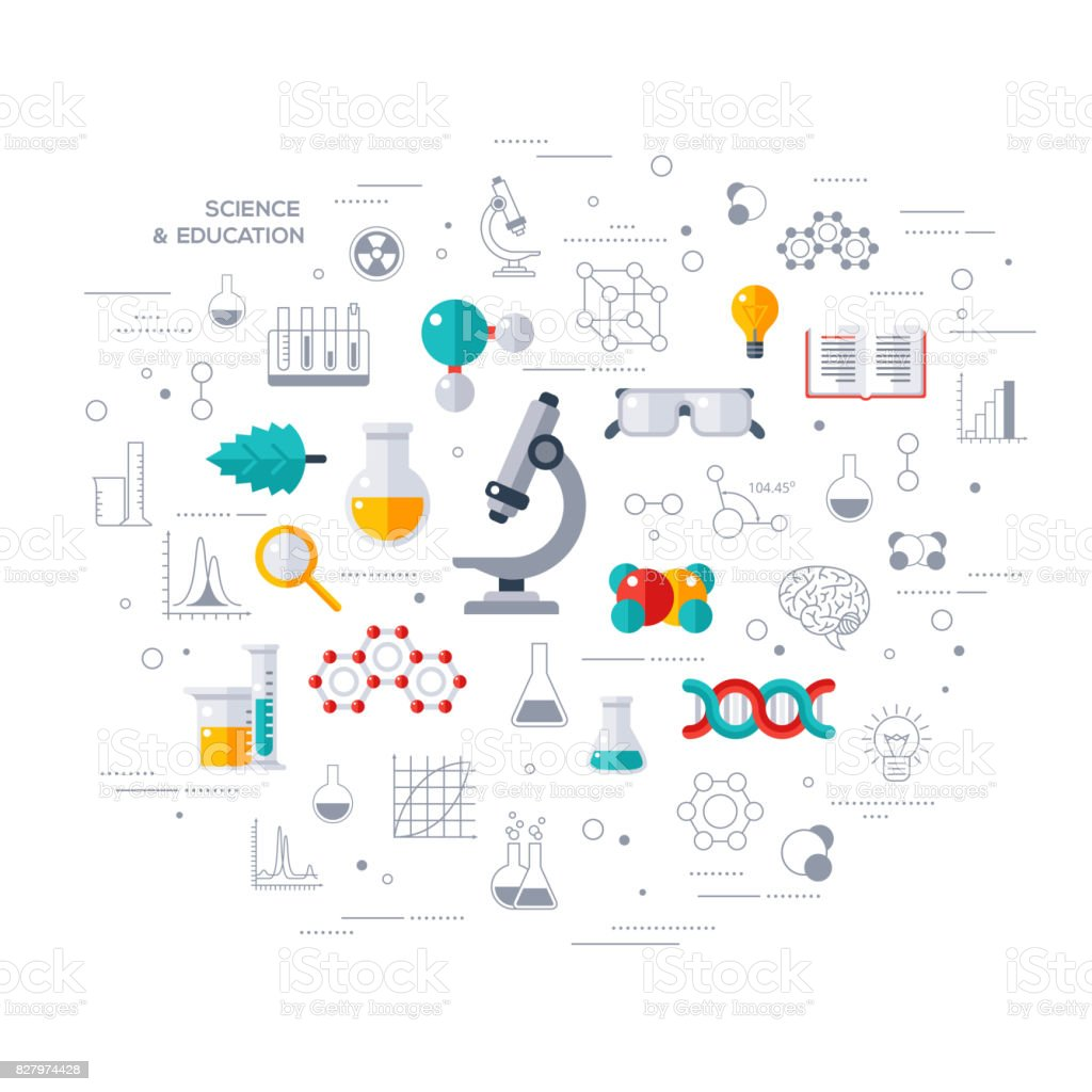 Concept of education and science with microscope vector art illustration