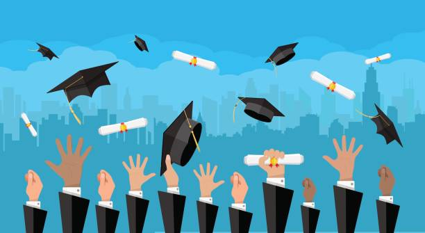 Concept of education. College, university ceremony vector art illustration