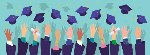 illustrations, cliparts, dessins animés et icônes de concept d'éducation. les diplômés lancent des chapeaux de graduation dans l'air. - lycée