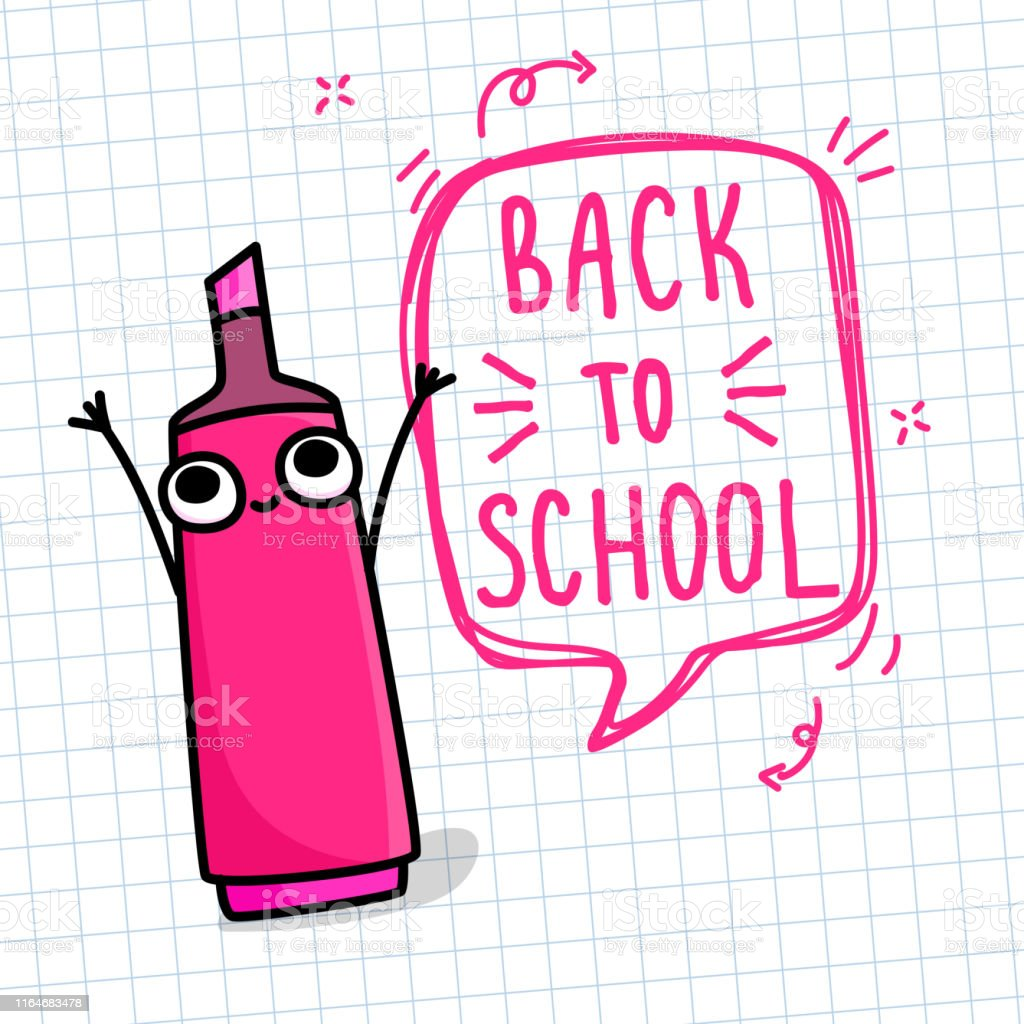 Concept of education. School background with cartoon happy red marker...