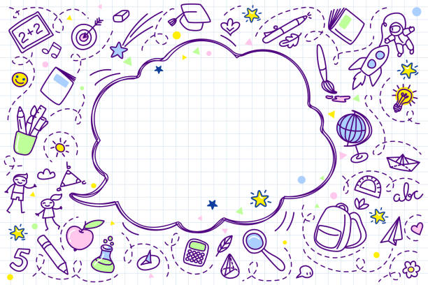 illustrations, cliparts, dessins animés et icônes de concept de l'éducation. fond d'école avec des fournitures scolaires dessinés à la main et la bulle de dialogue comique - niveau primaire