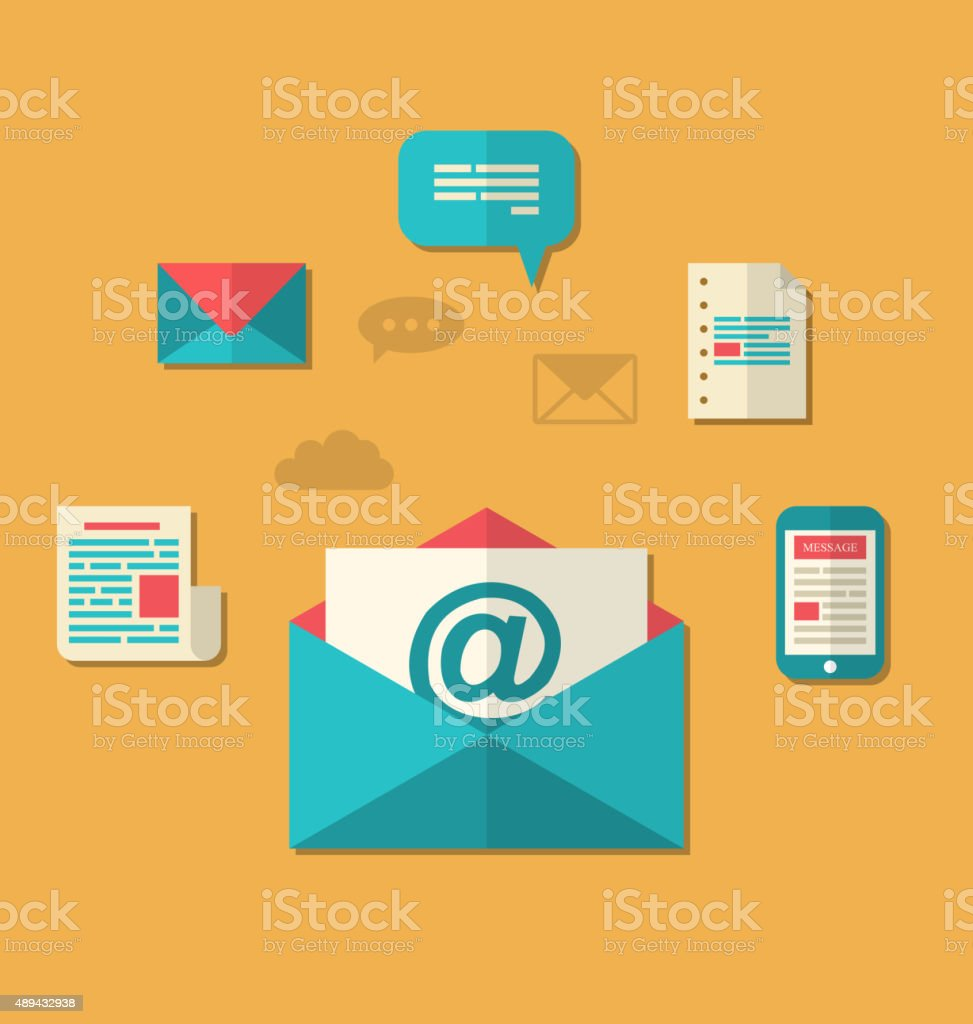 Concept of email marketing - newsletter and subscription, flat t vector art illustration