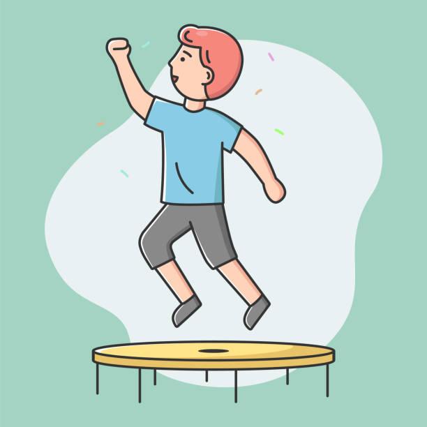 bildbanksillustrationer, clip art samt tecknat material och ikoner med begreppet nöjen, fritid. happy boy hoppar på studsmatta. utomhus, fitness center, sommartid attraktion, fritid, sport akrobatik. cartoon linjär kontur platt vektor illustration - gym skratt